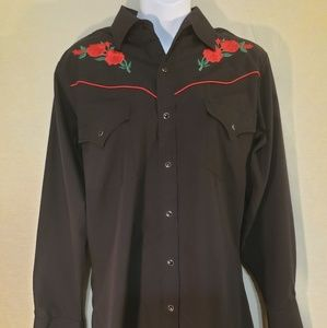 Black Mens Western Snaps Shirt Red Rose